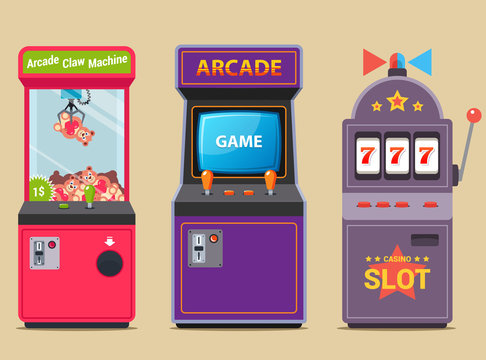 set of slot machines in a shopping center. flat vector illustration.