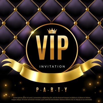 VIP. Luxury invitation coupon certificate with golden letters, exclusive and elegant logo membership in prestige club vector background