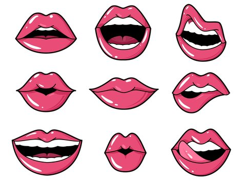 Lips patches. Pop art sexy kiss, smiling woman mouth with red lipstick and tongue. Retro comic 80s stickers vector set