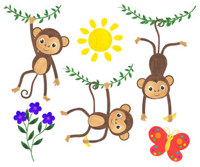 Monkey watercolor illustration set animals tropics butterfly sun liana flowers