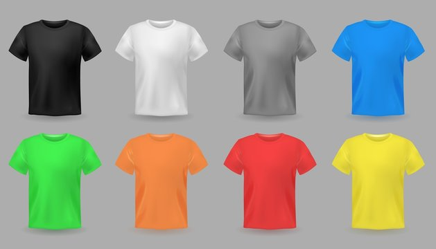 Color t-shirt mockups. Design colorful textile fabric apparel for men and teenagers clothes vector set
