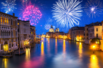 Printed kitchen splashbacks Venice New Years firework display over Grand Canal in Venice, Italy