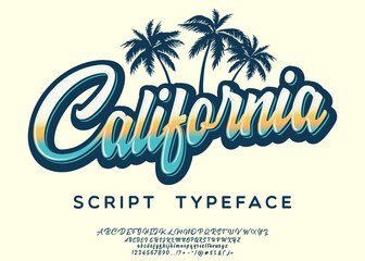 California. Vintage brush script. Handmade font. Retro Typeface. Vector font illustration.