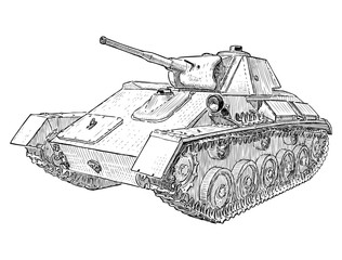 Sketch of  battle tank from the Second World war