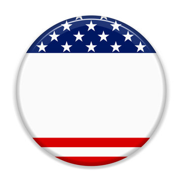United States of America Election button, 3d illustration isolated on white background with copy space.