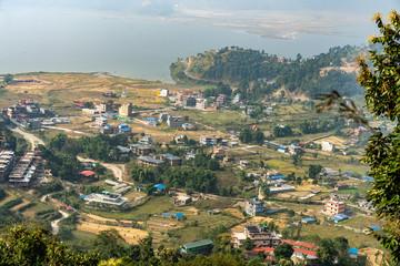 Poster Groen blauw Small Village in Pokhara, Nepal
