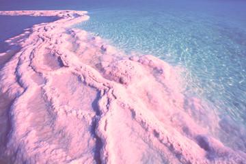 Fototapete - Texture of Dead sea. Salty sea shore