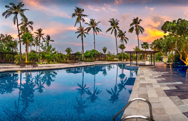 Swimming Pool with Palms at Sunset