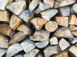Poster de jardin Texture de bois de chauffage Stacked firewood (woodpile) for an open-air stove