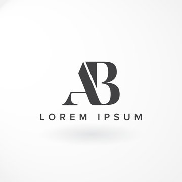 Lettermark Design is Combination Letter A and B with Serif Font