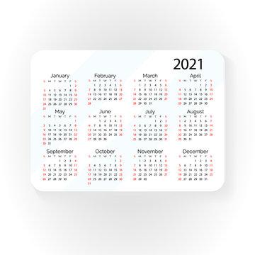 Horizontal vector pocket calendar 2021 year. Minimal business simple clean design. English grid, week starts from sunday