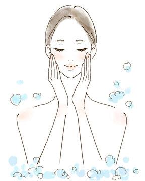 泡風呂 ジャグジー バスタイム マッサージ 美容に気遣う女性 水彩風の人物イラスト