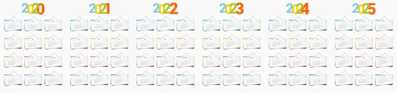 Calendrier décoratif 2020 2021 2022 2023 2024 2024 en version française, avec les 12 mois présentés sur des panneaux de papier