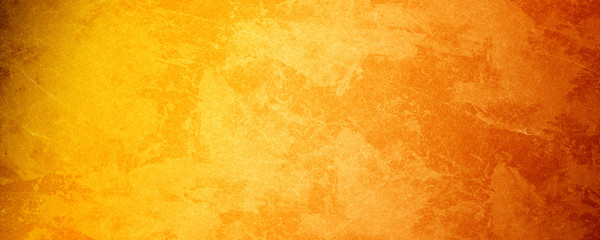 Fotorollo Retro Yellow orange background with texture and distressed vintage grunge and watercolor paint stains in elegant Christmas backdrop illustration