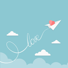 Valentine illustration of paper airplane flying in the sky with a heart
