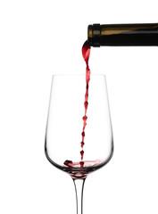 Fototapeta Nalewanie czerwonego wina na białym tle obraz