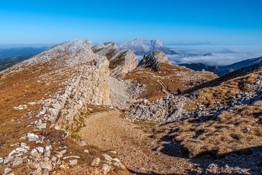 Ridges of Vercors as seen from the hiking pass of the Grand Veymont mountain slope in northern direction.  Auvergne-Rhone-Alpes region in France.
