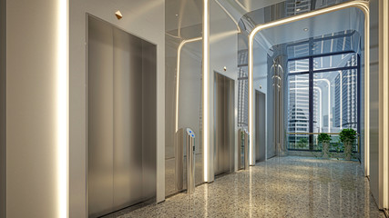 Modern corridor with elevators and led lights, without people, empty commercial building, 3d rendering, 3d illustration