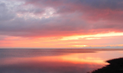Aluminium Prints Salmon winter pink sunset