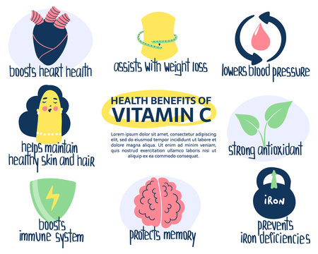 Hand drawn vitamin C ascorbic acid benefits: protects memory, lowers blood pressure, strong antioxidant, assists weight loss. Vector illustration is for pharmacological or medical poster, brochure.