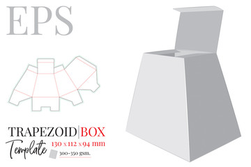 Trapezoid box vector. Template with die cut / laser cut lines. White, clear, blank, isolated trapezoid gift box mock up on white background. Trapezoid shape Present box. Packaging design