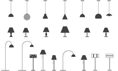 Set of lamps - floor lamp, table lamp, ceiling lamp. Vector illustration.