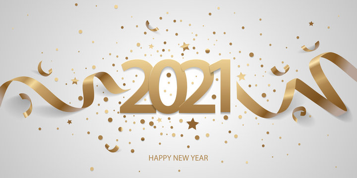 Happy New Year 2021. Golden numbers with ribbons and confetti on a white background.