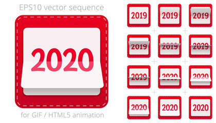 Animated date flipper for announcing New Year's events. Vector sequence for GIF, HTML, flash animation. Red 3D icon of the flipping calendar from 2019 to 2020. Sprite sheet, 12 frames per second rate
