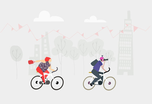 City people riding bikes. Eco environmental illustration, healthy life style