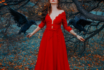 Mysterious woman with red lips in a luxurious dress with a seductive deep neckline. Witch conjures summons black ravens. Glamorous lady with birds. Autumn fairytale landscape. Shooting without a face.