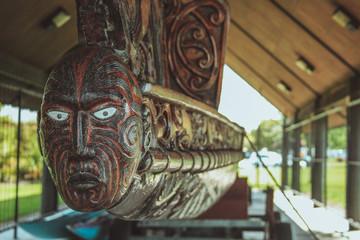 Traditional maori carvings in Rotorua, North Island, New Zealand