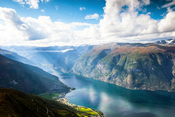 Wall Murals Northern Europe Beautiful mountain landscape in Aurland and Aurlandsfjord in the sunlight , Sogn og Fjordane, Norway.