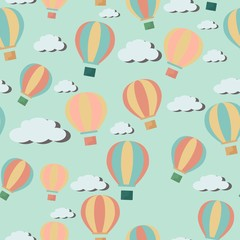 Bright seawmless pattern with cartoon hot air balloons