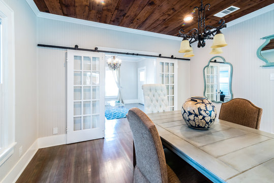 Remodel with Sliding French Doors from Dining to living, shiplap