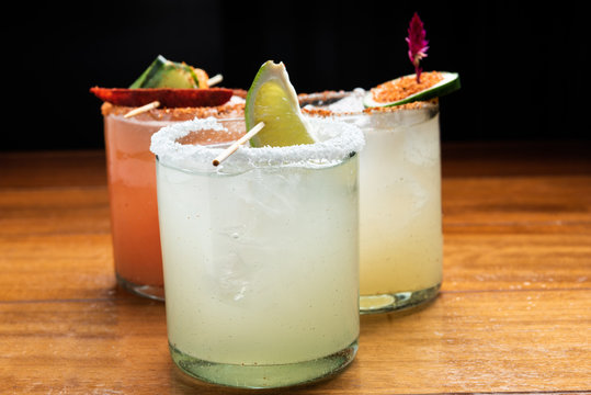 Assorted Margarita cocktails (lime, strawberry, cucumber)