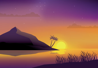 Beautiful sunset at beach vector illustration. Sunset landscape at beach with violet sky and palm trees