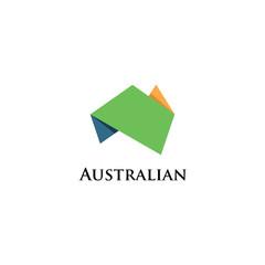 Australia Origami Logo Icon Design Template Elements