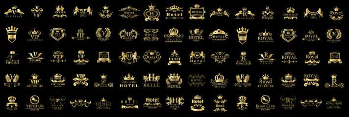 Royal Logo Set - Isolated On Black Background - Vector Illustration, Graphic Design. VIP Logo Set - Isolated On Black Background - Vector Illustration, Graphic Design.