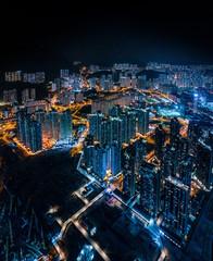 Wall Mural - cyperpunk cityscape of urban area, Hong Kong