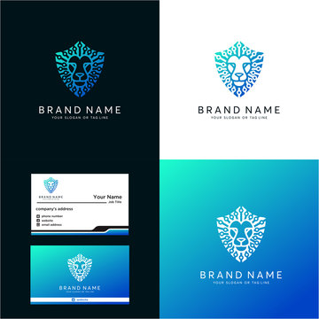 Premium amazing logo lion tech vector
