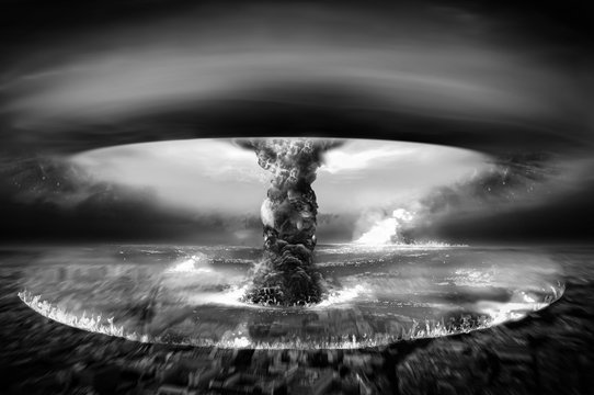 Nuclear Atomic War Black and White Photography
