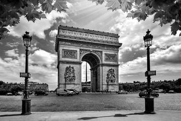 Famous Arc de Triomphe in Paris France. Black and White Photography