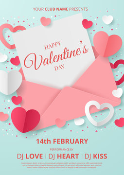 Valentine's day party poster template with heart shape, envelope and gift box. Paper cut style. Vector illustration