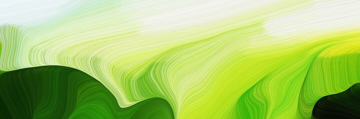 Fototapeten Lime grun horizontal modern colorful abstract wave background with green, very dark green and tea green colors. can be used as texture, background or wallpaper