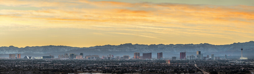 Foto op Textielframe Grijs Las Vegas skyline panorama at twilight
