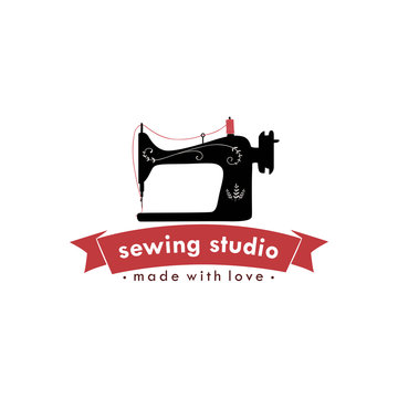 Sewing Machine Vintage Logo, Tailor Sewing Vintage Logo, Fashion Retro Simple Logo, Vector Design Template