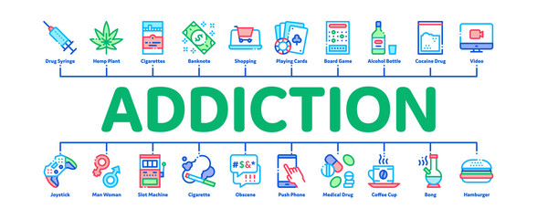Addiction Bad Habits Minimal Infographic Web Banner Vector. Alcohol And Drug, Shopping And Gambling, Hemp, Smoking And Junk Food Addiction Color Illustrations