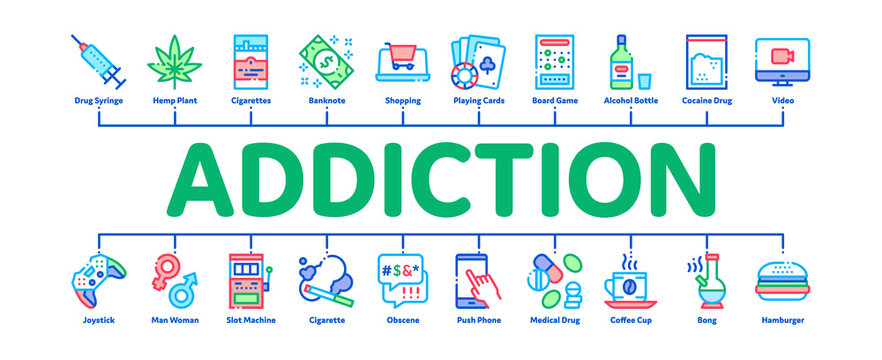Addiction Bad Habits Minimal Infographic Web Banner Vector. Alcohol And Drug, Shopping And Gambling, Hemp, Smoking And Junk Food Addiction Color Illustrations