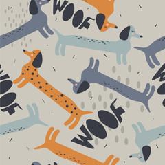 Chiens heureux, toile de fond dessinée à la main. Modèle sans couture coloré avec des animaux. Papier peint décoratif mignon, bon pour l& 39 impression. Vecteur de fond qui se chevauchent. Illustration de conception, teckels