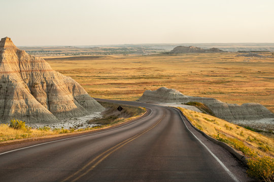 The landscape in Badlands national park in the evening during summer times , South Dakota, United States of America